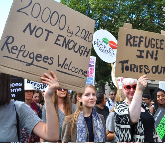 Over 100,000 people demonstrated in London in September last year in support of refugees