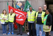 Southern rail pickets standing up for safety during recent strike action at London's Victoria Station