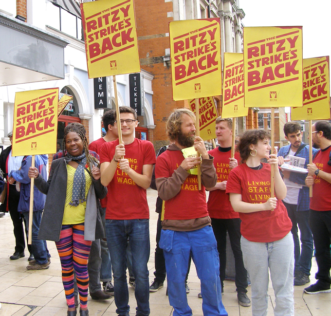 Ritzy strikers rallying yesterday – Hackney Picture House cinema workers have voted 100% to join their strike