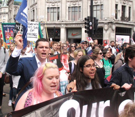 Teachers marching against the Tory government's attacks on state education