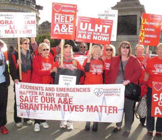 Fighting 4 Grantham Hospital campaigners taking part in yesterday's protest demanding the reopening of their 24-hour A&E
