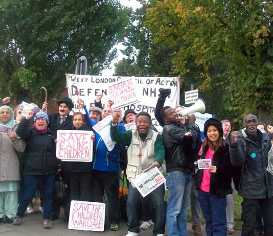 Doctors, nurses and NHS staff stopped to support the extremely determined picket to save Ealing Hospital
