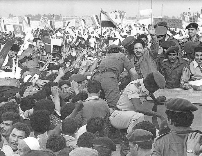 Gadaffi and the masses celebrate the anniversary of the September 1st 1969 revolution