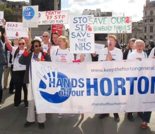 'Hands off our Horton' demand demonstrators from North Oxfordshire in Trafalgar Square, London on October 10th