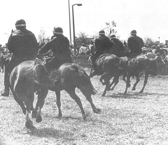 Mounted police cavalry charge striking miners at the Orgeave coke depot – Rudd announced no inquiry into police violence
