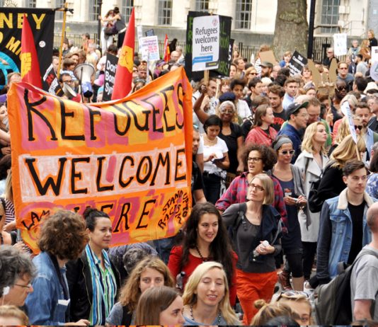 A demonstration of over 100,000 marched through London to welcome refugees in September 2015