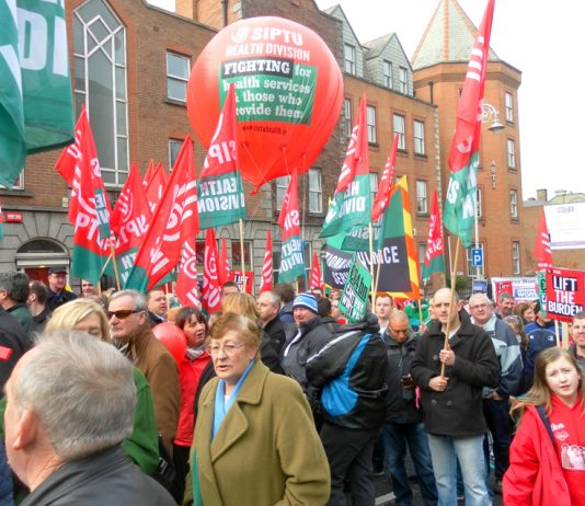 SipTu health workers on a demonstration fighting against the Irish government's cuts to the public sector