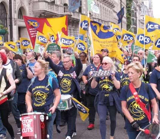PCS delegation on a TUC demonstration against government austerity