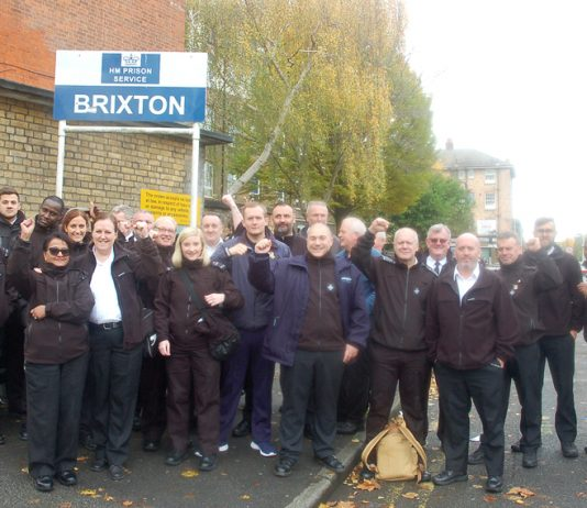 Prison officers outside Brixton prison forced to take strike action for health and safety reasons