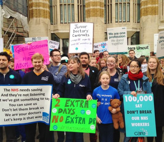 Striking junior doctors pointed out that they were defending the NHS against a Tory onslaught and that it needed saving