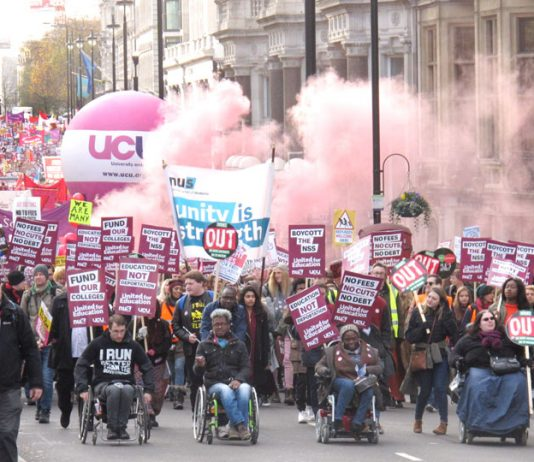 The front of Saturday's 15,000-strong march of students and lecturers