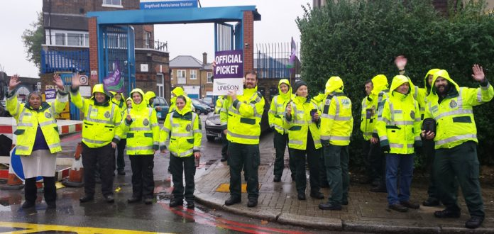 Ambulance workers on the picket line outside Deptford Ambulance Station striking over pay – there is a massive lack of ambulance staff, creating an enormous crisis