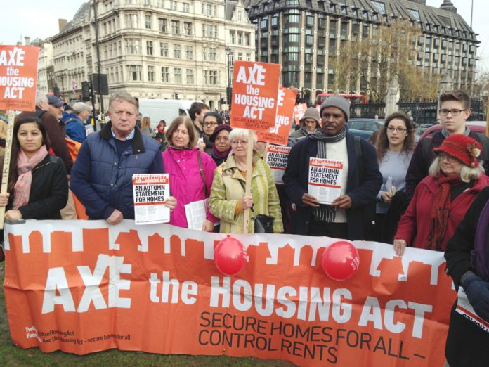 Protest against the Housing Act outside Parliament as Tory Chancellor Hammond delivered his Autumn Statement