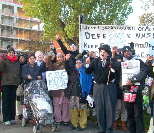 A lively mass picket of Ealing Hospital yesterday morning demanded the reopening of the maternity and children's services