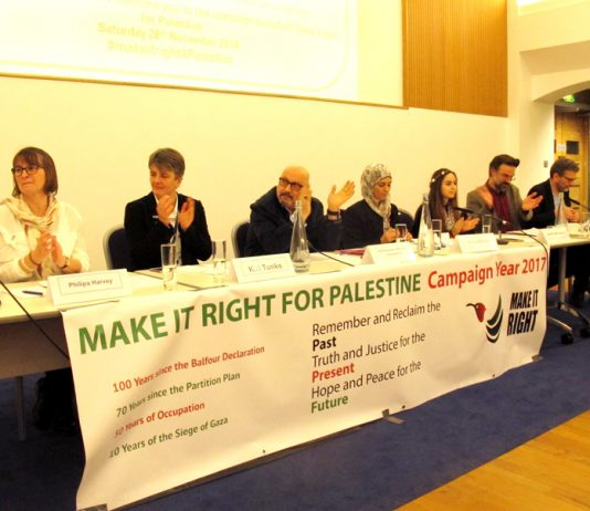 The platform at the launch of the 'Make it Right for Palestine Campaign Year 2017' on Saturday