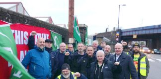 Striking Southern rail guards on the picket line at the Selhurst depot on November 23rd. Photo credit RMT