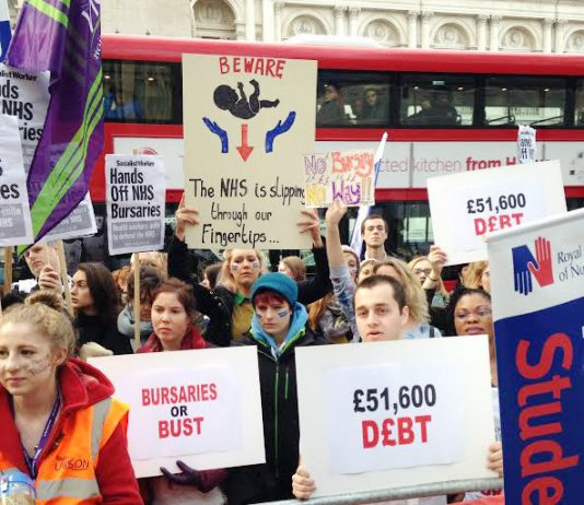 Student nurses and midwives campaigning against the ending of bursaries – now they are to be saddled with £51,600 of fee debt