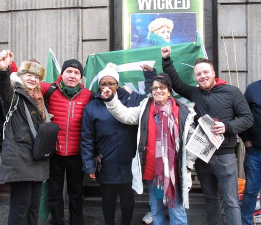 Morale was high on the Southern rail picket line at Victoria Station yesterday morning