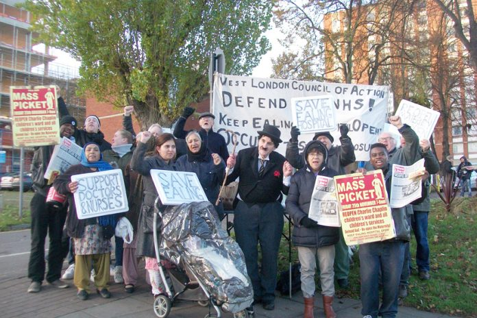 Last week's mass picket of Ealing Hospital – West London Council of Action is calling on the trade unions to occupy the hospital and defend all its departments