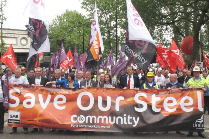 Tata steel workers march through London in defence of their jobs