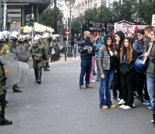 Riot police confront thousands of Greek youth who marched on December 6th to remember the assassination of 15-year-old  Alexandros Grigiropoulos who was shot dead in cold blood on December 6th 2008