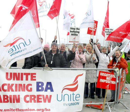 Pickets at Heathrow during the 2010 cabin crew strike that brought in cut-price cabin crew