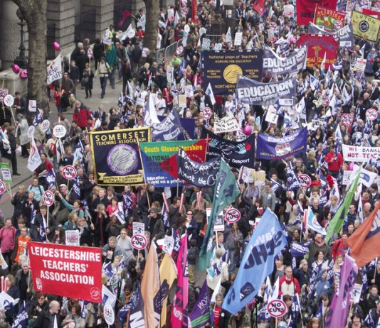 NUT banners on a TUC demonstration against Tory government cuts