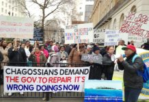 Hundreds of Chagossians rally outside the Foreign Office condemning the British government for preventing them from returning home to the Chagos Islands