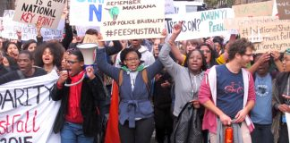 South African students in London march against Zuma