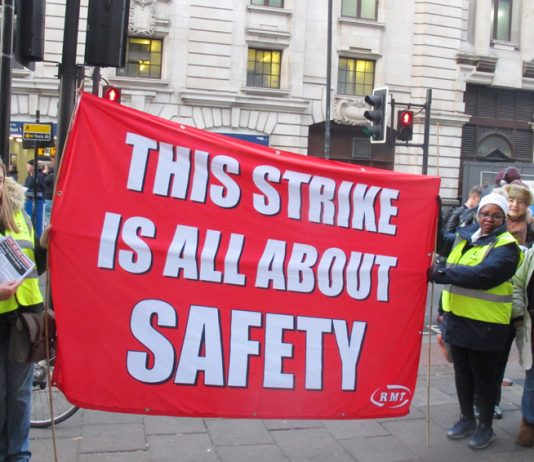 RMT pickets at Victoria Station emphasising what the Southern rail strike is all about
