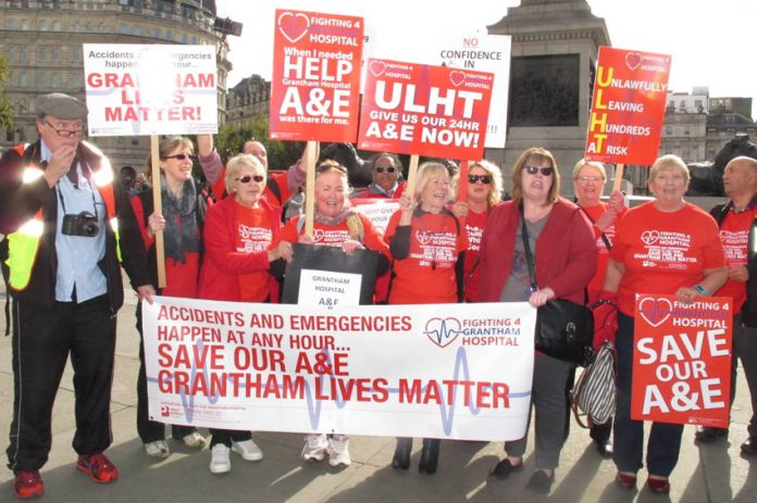 Grantham Hospital marchers took the campaign to Downing Steet on October 10th