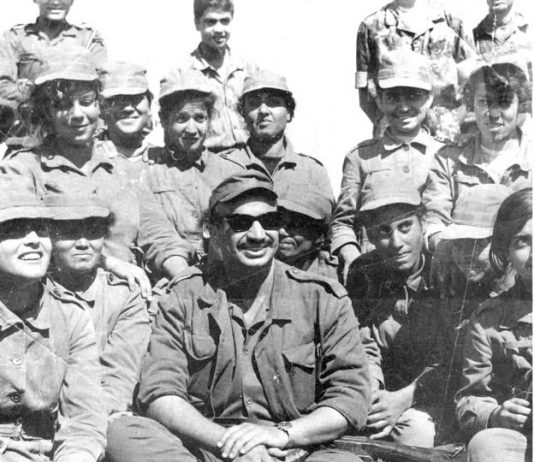YASSER ARAFAT in southern Lebanon with Fatah youth