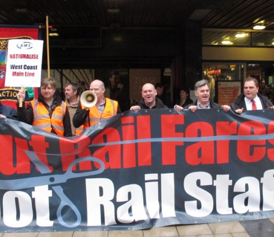 Passengers and rail staff united in their call to renationalise the rail network – fares were hiked up, in some cases by up to 43%