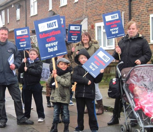 Teachers, parents and school pupils demonstrate in Bellingham in south east London against vicious education cuts