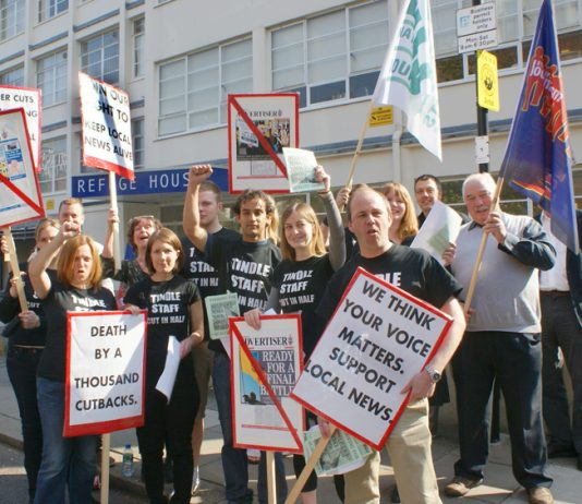 Striking Tindle newspaper workers in Enfield fighting against job cuts – 200 newspapers have been shut down since 2005