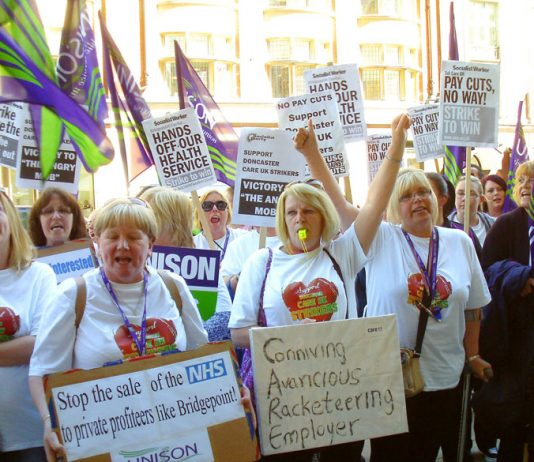 Doncaster care workers lobbying the Care UK head offices in London during their strike in 2014 – unions warn of a 'funding black hole'