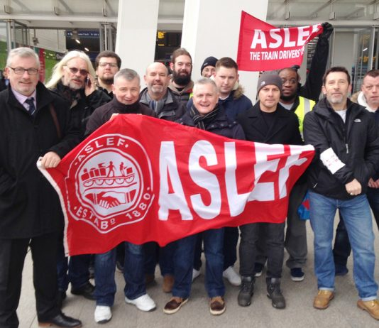 Lively ASLEF picket line at London Bridge Station yesterday morning – Southern rail was brought to a complete standstill