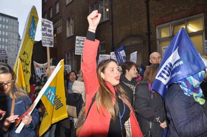 ATL and NUT members marching in London against forced academisation of schools