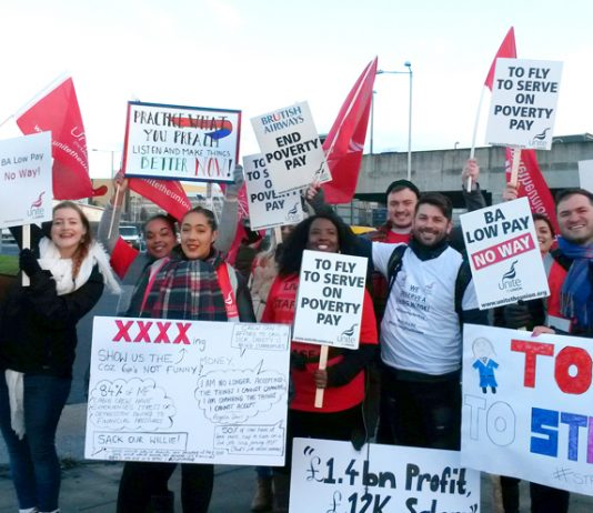 Mixed fleet cabin crew are starting a three-day strike today against poverty pay. Picture shows picket line at Heathrow on Tuesday January 10th