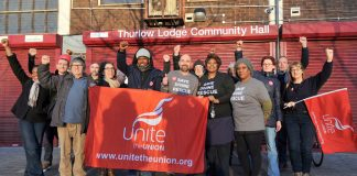 Thurlow Park Community Centre Occupation. Supporters with Unite the union banner, who saw the council off in Round One. (Photocredit: Denis McWilliams)