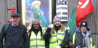 Southern rail picket line at Victoria Station yesterday morning