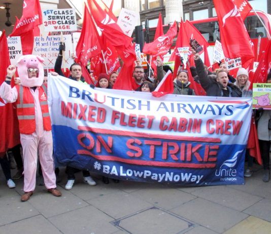 BA mixed fleet cabin crew taking strike action against poverty pay