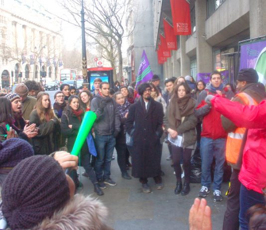 King's College and SOAS students turned out to support the striking cleaners
