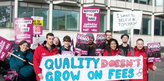 Students on the NUS and UCU joint demonstration last November – they oppose the Tory move to charge different fees at each and every university dependent on the 'quality of education'