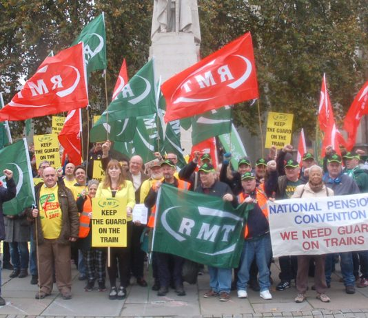 RMT along with the TSSA and the National Pensioners Convention insist outside Parliament 'We need guards on trains'