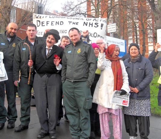 Ambulance workers joined the mass picket of Ealing Hospital yesterday morning to stop the closure of the A&E and demand the maternity and children's wards be re-opened