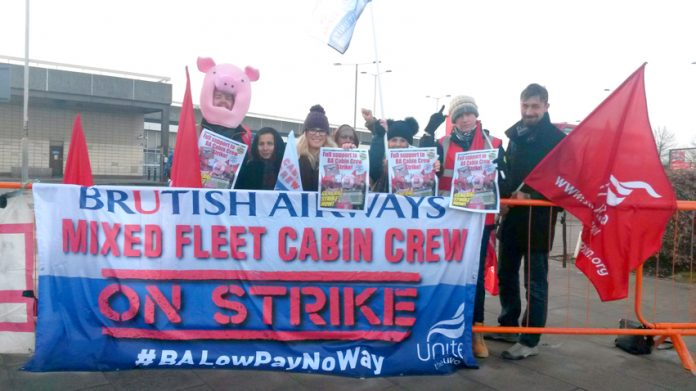 BA mixed fleet cabin crew launch the first day of their six days of strike action at Hatton Cross, Heathrow yesterday morning