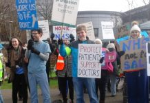 Striking junior doctors and supporters outside London's North Middlesex Hospital – its A&E is now threatened with closure