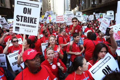 Teachers at a rally in Chicago fighting against cuts to education – the Chicago Teachers Union (CTU) have criticised the appointment of billionaire Betsy DeVos as Education Secretary by US President Trump