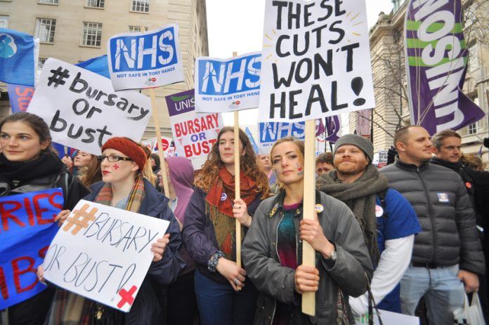 Nurses demonstrate against the end of bursaries and the introduction of tuition fees